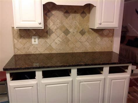 Donna S Brown Granite Kitchen Countertop W Travertine Backsplash Granix Remedios B Brown Granite Countertop Backsplash Tile Granix Inc
