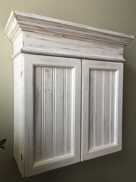 Distressed White Cabinet Bathroom Cabinet Kitchen Cabinet Hanging Kitchen Wall Cabinets