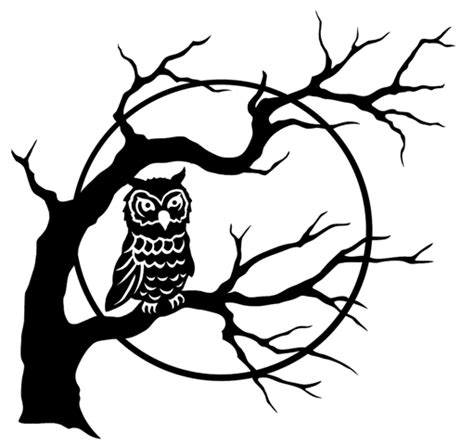 printable scary owl owl in spooky tree free halloween printable clipart best