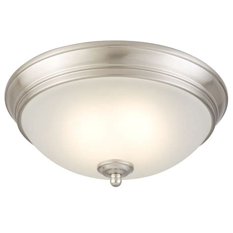 Home Depot Led Ceiling Lights commercial electric 11 inch brushed nickel led ceiling light with frosted glass the home depot