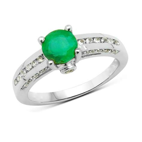emerald gemstone accented engagement ring 6mm classic