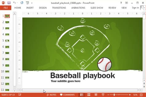 Animated Baseball Playbook Powerpoint Template Powerpoint Playbook