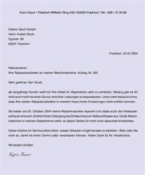 Reklamation Per Brief Gesch 228 Ftsbrief Text Musterbrief Reklamation Muster