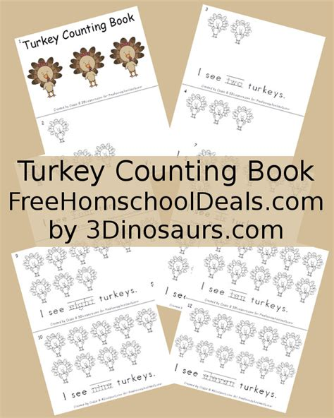 printable turkey counting book printable thanksgiving counting book pages happy easter