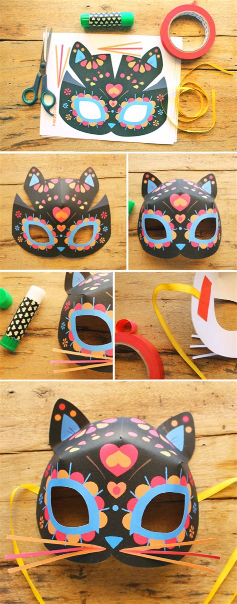 cat mask template for dia de los muertos day of the dead