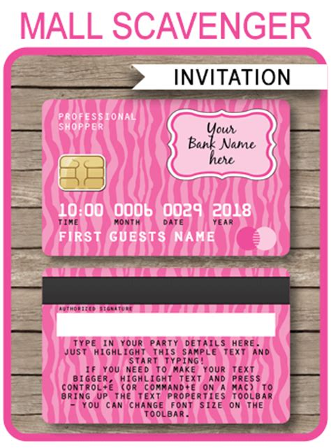 Credit Card Invitation Template by Credit Card Invitations Mall Scavenger Hunt Invitations