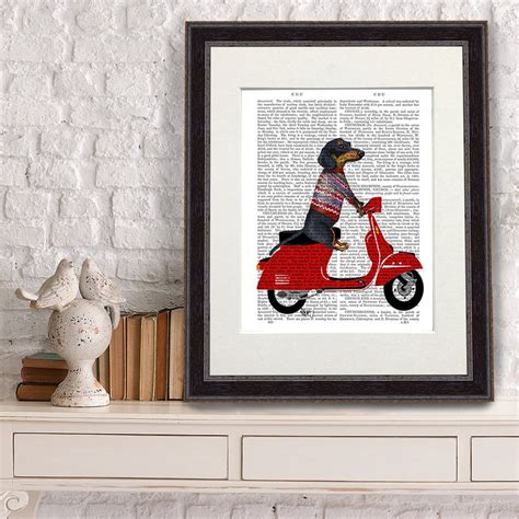 dachshund print dachshund on moped by fabfunky home decor