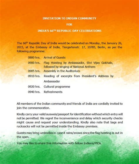 Invitation Letter Format For Republic Day Sle Invitation Letter To President Of India Simple