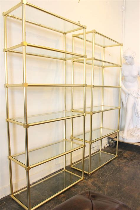 Brass Glass Shelf by Pair Of Brass Etageres With Glass Shelving At 1stdibs