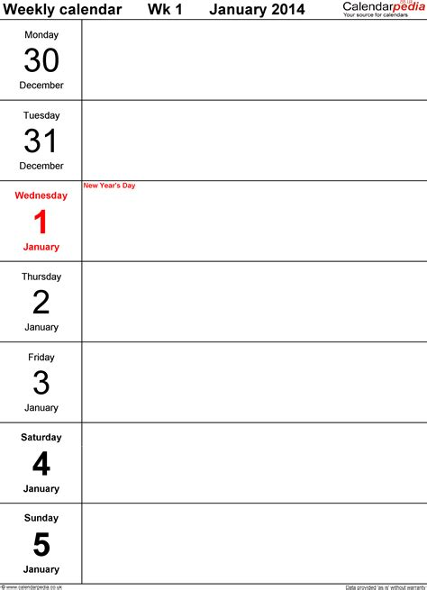weekly calendar template 2014 excel weekly calendar 2014 uk free printable templates for pdf