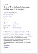 Permission Letter To Go To Hospital Letter To Hospital To Release Records To Employer