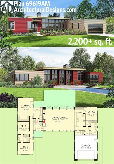 Modernist House Plans Plan 69619am 3 Bed Modern House Plan With Open Concept Layout Modern House Plans Open