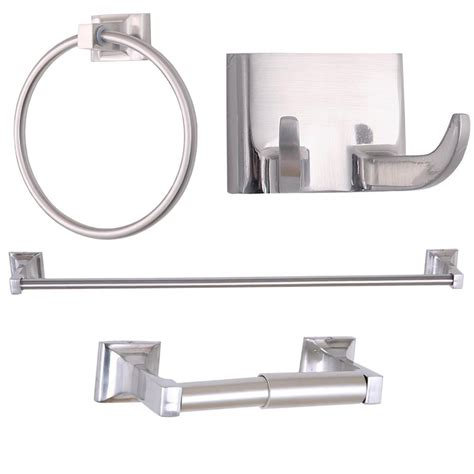 Brushed Nickel Bathroom Accessories Set 4 Bathroom Accessory Set With 24 Inch Single Towel Bar Brushed Nickel