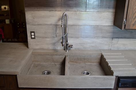 Kitchen Sink Tops Mode Concrete Modern Contemporary Concrete Kitchen With Waterfall Countertop Made In Kelowna