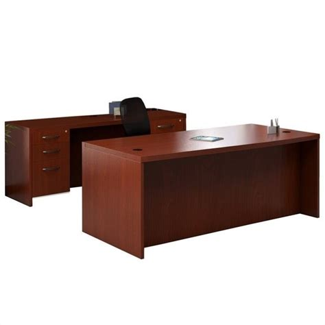 Desk And Credenza Set mayline aberdeen conference desk and credenza set in cherry at1lcr