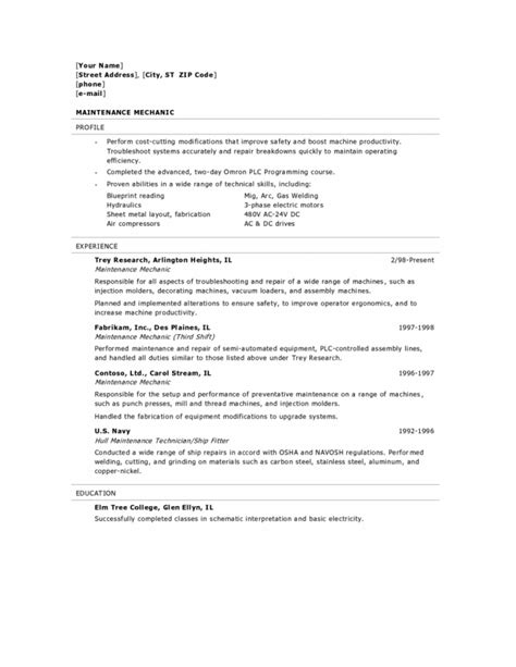 Industrial Mechanic Resume Sles by Maintenance Resume Cover Letter 28 Images Maintenance