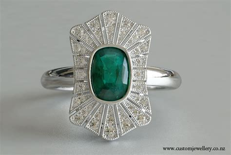 cushion cut emerald and deco vintage ring new