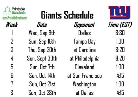 printable giants schedule ny giants printable schedule 2015 calendar template 2016