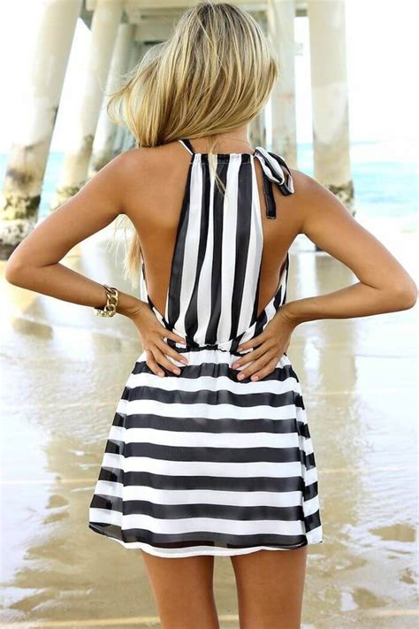 Dress Black White Stripes summer stripe dress