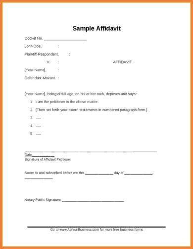 29 Free Affidavit Form Exles Pdf Business Affidavit Template