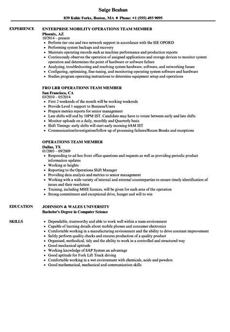 operations team member resume sles velvet