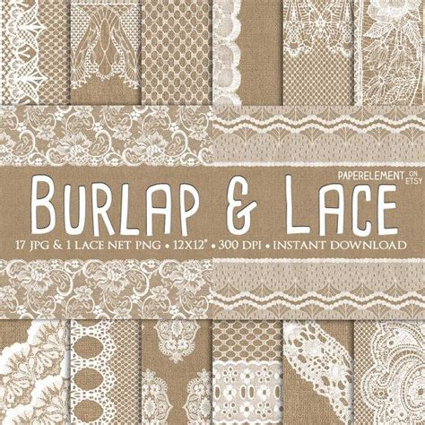 Burlap And Lace Digital Paper: Burlap Wedding Invitation