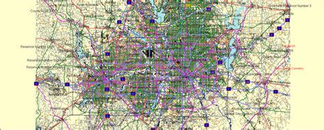 dallas usa map dallas fort worth printable atlas 25 parts vector