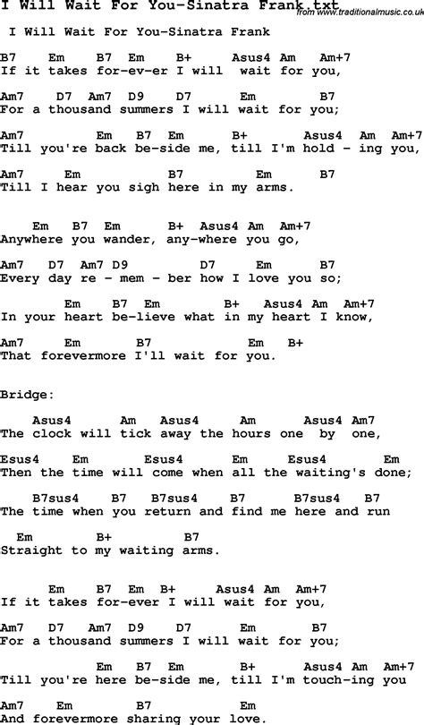 song i you jazz song i will wait for you sinatra frank with chords