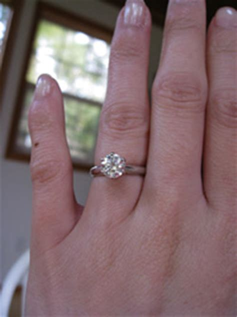 show me your solitaire engagement ring w wedding band