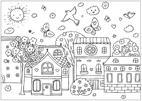 villager coloring page primavara planse de colorat si educative
