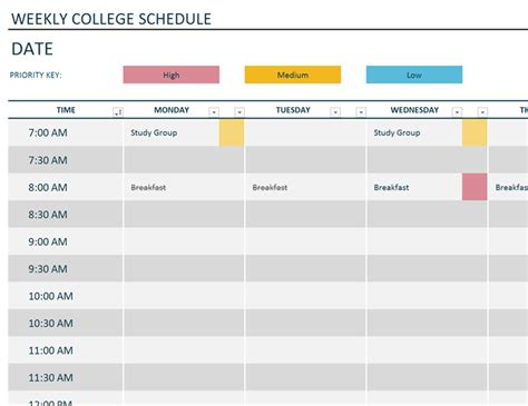 weekly schedule template weekly college schedule office templates