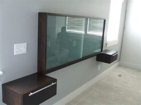 headboard with floating side tables brown wooden bedside table and rectangle glass
