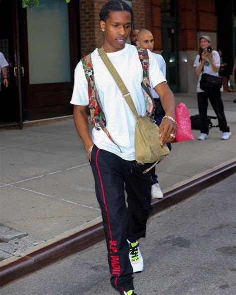 asap rocky clothing asap rocky in nyc wearing s p badu track pants and dior