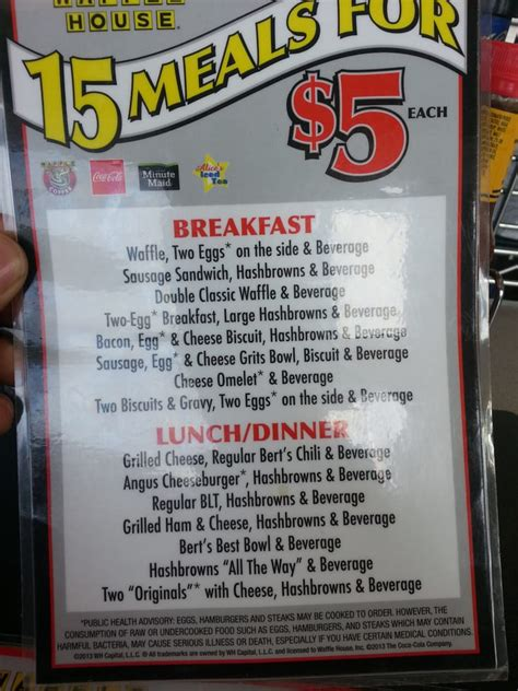 Waffle House Newberry Sc their 5 dollar specials menu yelp