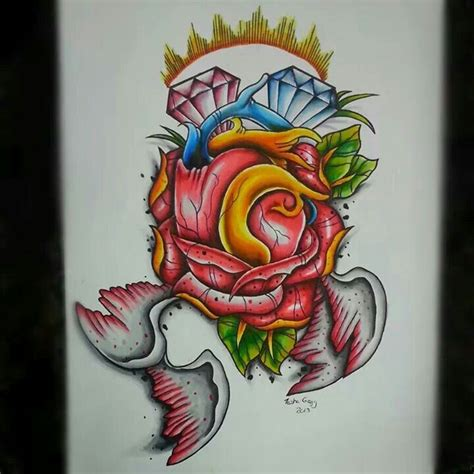 tattoo new rose new school heart and rose tattoo flash artwork