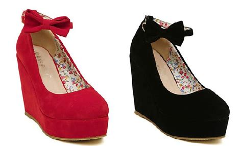 Wedges Tali Pink Black wedge heels with bow heels zone