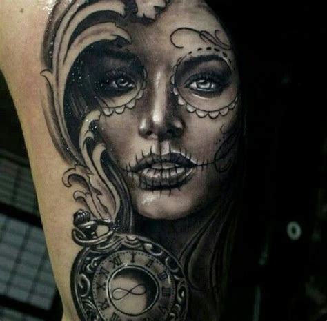 collection of 25 lovely sugar skull portrait tattoo