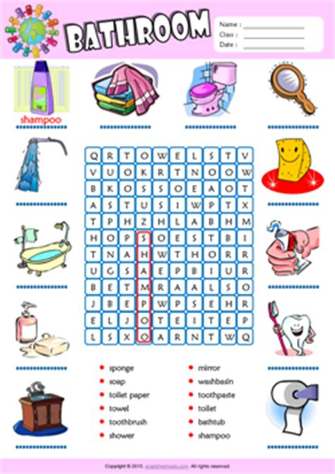 english term for bathroom bathroom esl printable worksheets for kids 1