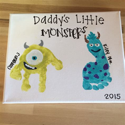 Fathers Day Projects by S Day Gift Monsters Inc Toddler Handprint Canvas