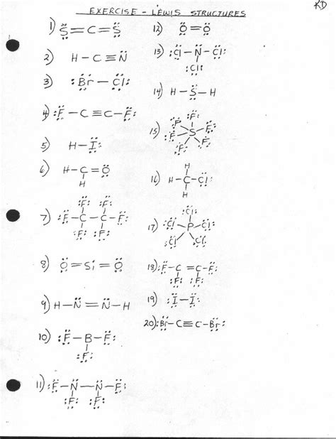 Lewis Structure Worksheet With Answers by Unit 1