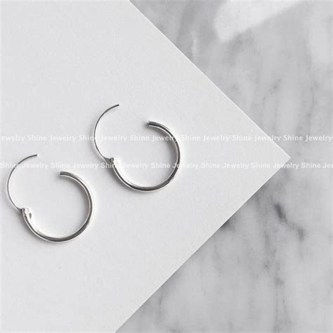 Self Piercing Sleeper Earrings by 925 Sterling Silver Kid Hoop Huggie Sleeper