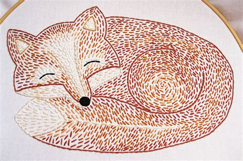 etsy embroidery pattern sleepy fox hand embroidery pattern by earlybirdspecial on etsy