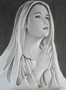 virgin mary in prayer drawing by lupe gonzalez
