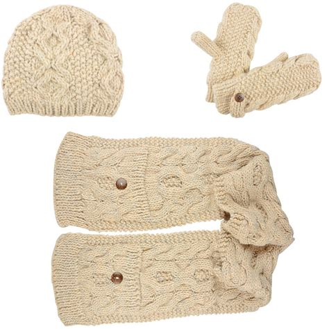 elin cable knit accessory set beanie hat pocket