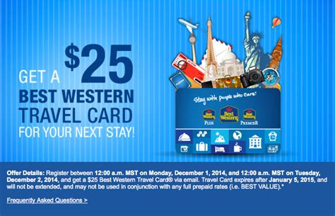 best western card today only best western free 25 travel card one mile