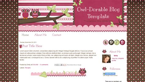 cute pink owl blog template for blogger owl dorable