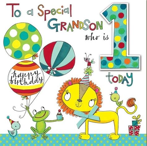 Birthday Card For Grandson 1st Birthday Lion Frog Grandson 1st Birthday Card Large Luxury