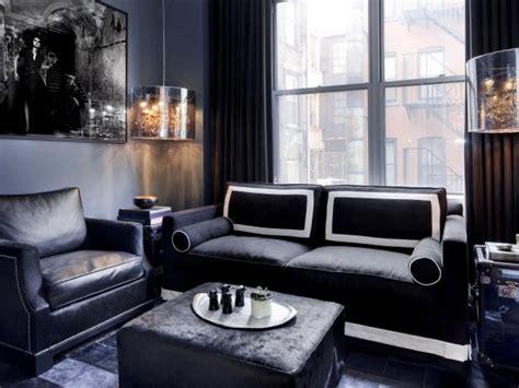 black  gray contemporary apartment living room hgtv