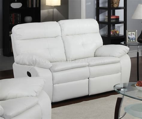 White Leather Reclining Loveseat g577a reclining sofa loveseat in white bonded leather by