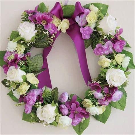 flowers decoration at home purple artificial flowers wreath garland door